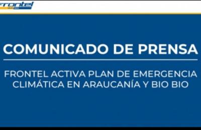 Frontel activa plan de emergencia climática en Araucanía y Bio Bio